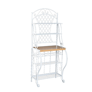 4. Southern Enterprises Trellis Bakers Rack with Scroll Work,