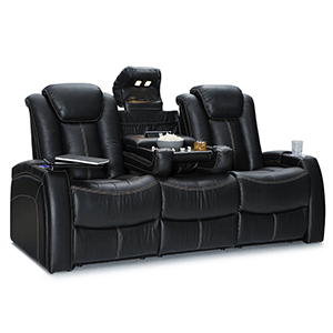 9. Seatcraft Republic Leather Home Theater Power Recline Multimedia Sofa