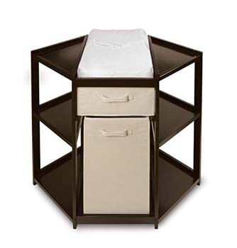 10. Diaper Corner Baby Changing Table with Pad, Hamper and Basket