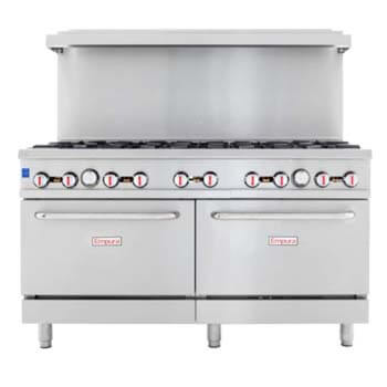 2.Empura 60 Inch Stainless Steel Commercial Gas Range Two Ovens