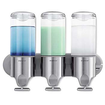 4: simplehuman Triple Wall Mount Shower Pump, 3 x 15 fl. oz. Shampoo and Soap Dispensers, Stainless Steel