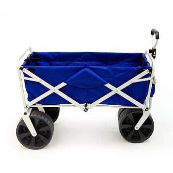 1: Mac Sports Heavy Duty Collapsible Folding All Terrain Utility Beach Wagon Cart, Blue/White