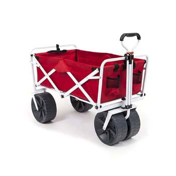 6: Mac Sports Heavy Duty Collapsible Folding All Terrain Utility Wagon Beach Cart - Red/White