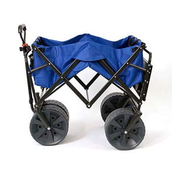 4: Mac Sports Heavy Duty Collapsible Folding All Terrain Utility Wagon Beach Cart with Table – Blue
