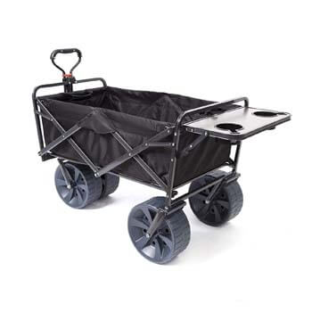 2: Mac Sports Heavy Duty Collapsible Folding All Terrain Utility Wagon Beach Cart with Table – Black