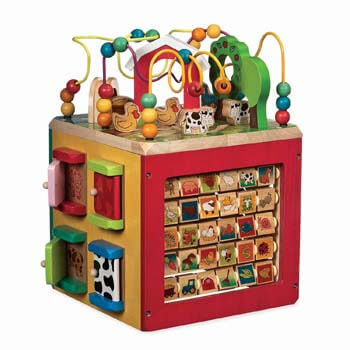 1: Battat – Wooden Activity Cube – Discover Farm Animals Activity Center for Kids 1 year +