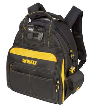 8: DEWALT DGL523 Lighted Tool Backpack Bag, 57-Pockets