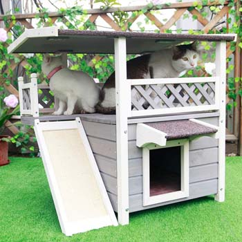 3: Petsfit Outdoor Cat House with Escape Door and Scratching Pad, 1-Year Warranty