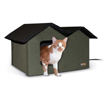 9: K&H Pet Products Outdoor Kitty House Extra-Wide Olive - Outdoor Cat Shelter