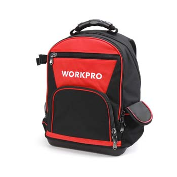1: WORKPRO Tool Backpack Bag, 60-Pocket Water Proof Rubber Base Jobsite Tote