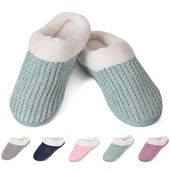 5: YALOX Women's House Shoes Men's Warm Slippers Cotton Home Shoes