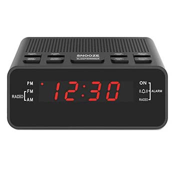 2: Jingsense Digital Alarm Clock Radio, Small Alarm Clocks for Bedrooms