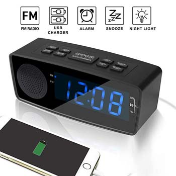 3: WOODMUSIC Clock Radio, Digital FM Alarm Radio Clock