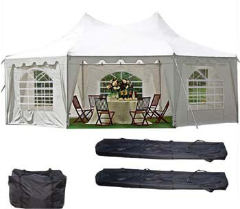 7: DELTA Canopies 29'x21' Decagonal Wedding Party Tent Canopy Gazebo Heavy Duty Water Resistant White