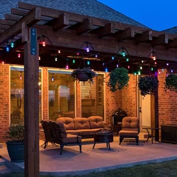 7: Enbrighten 37790 Vintage Seasons LED Warm White & Color Changing Café String Lights