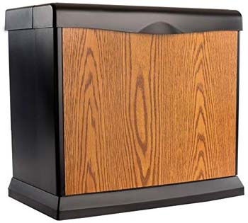 8. AIRCARE EA1407 Digital Whole-House Console-Style Evaporative Humidifier, Honey Oak