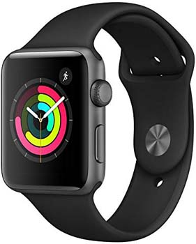 8. Apple Watch Series 3 (GPS, 42mm) - Space Gray Aluminum Case with Black Sport Band