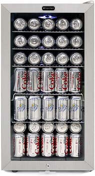 2. Whynter BR-128WS Lock, 120 Can Capacity, Stainless Steel Beverage Refrigerator, White