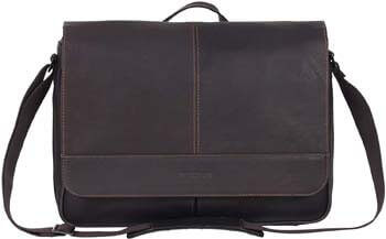 1. Kenneth Cole Reaction Risky Business Full-Grain Colombian Leather Crossbody Laptop & Tablet Flapover Messenger Bag