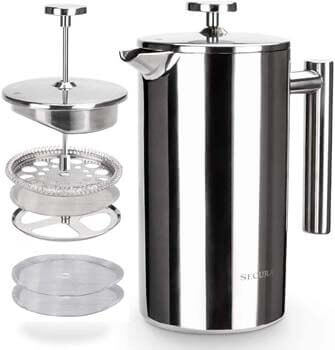 3. Secura French Press Coffee Maker, 304 Grade Stainless Steel Insulated Coffee Press