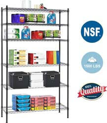 5. 6 Shelf Wire Shelving Unit Heavy Duty Metal Storage Shelves NSF