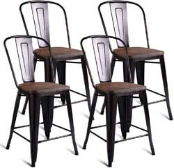 9. COSTWAY Tolix Style Dining Stools with Wood Seat and Backrest