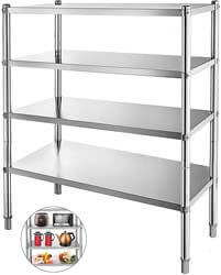 6. Happybuy Stainless Steel Shelving 47x18.5x60 Inch 4 Tier Stainless Steel Shelving
