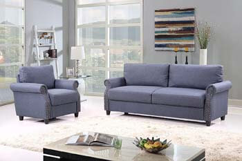 5. Classic Linen Fabric Living Room Sofa and Armchair Furniture Set